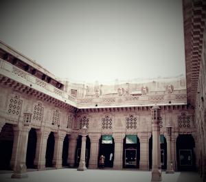 Courtyard, Umaid Bhawan Palace, Popular Tourist Attraction in Jodhpur Rajasthan